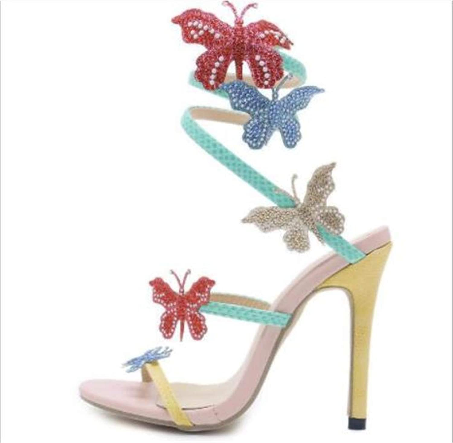 COLOV Women's Unique high Heel Sandals Open Toe Stiletto Sandals with Butterfly