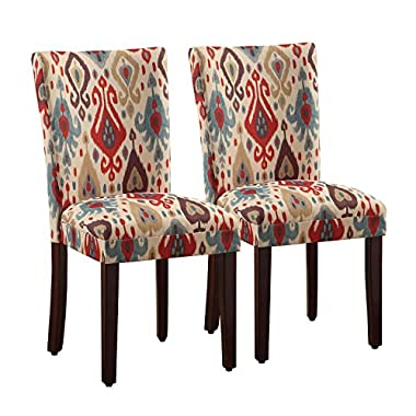 HomePop Parsons Upholstered Accent Dining Chair, Set of 2, Sienna Ikat