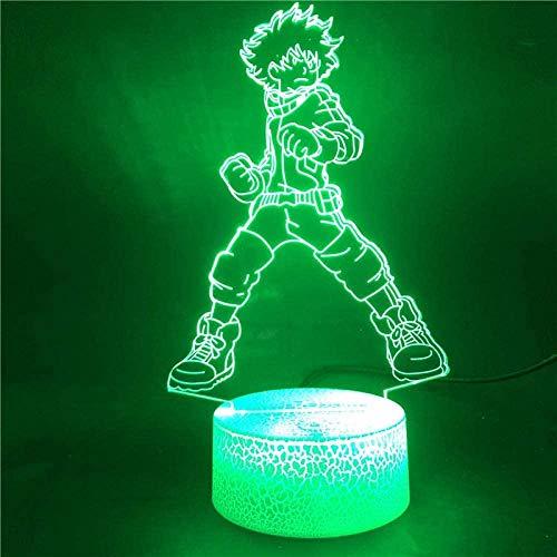 Preisvergleich Produktbild Tatapai 3D-Illusionslampe,  LED-Nachtlichtsockel,  My Hero Academia Deku Midoriya Izuku 7 Farben mit Fernbedienung,  Upply Direct USB-Dekoration Festival
