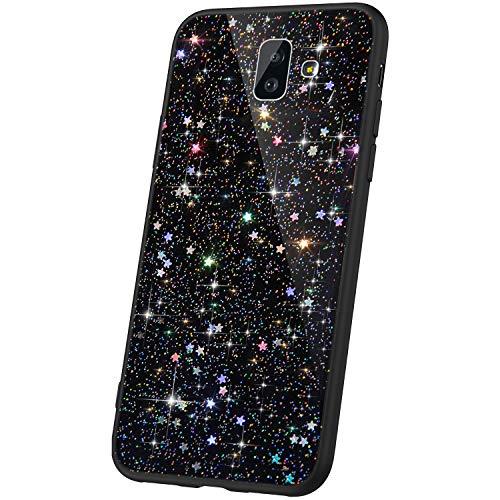 JAWSEU Compatible avec Samsung Galaxy J6 Plus Coque Silicone Paillette,Cristal Clair étoile Brillant Bling Glitter Housse Etui Slim Transparente TPU Souple Gel Strass Case Femme Fille,Noir*