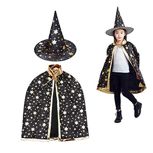 MUCHEN SHOP Sombrero de Brujo Infantil,Capa de Mago de Halloween para Ninos y Ropa de Duende Juego de Roles de Elfos Negro