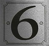 eCobbler Metalic Stick On Door Number 6 (silver background)