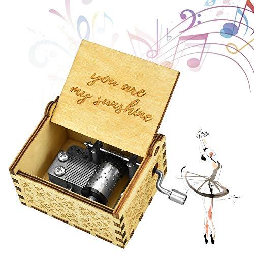 """YUSHIWA Mini Caja de Música de Madera con Manivela Caja de Música Tallada Caja de Música Grabada en Madera para Navidad, Regalos de Cumpleaños, San Valentín, Día del Niño (Marrón, 2.6x2x1.7"""")"""
