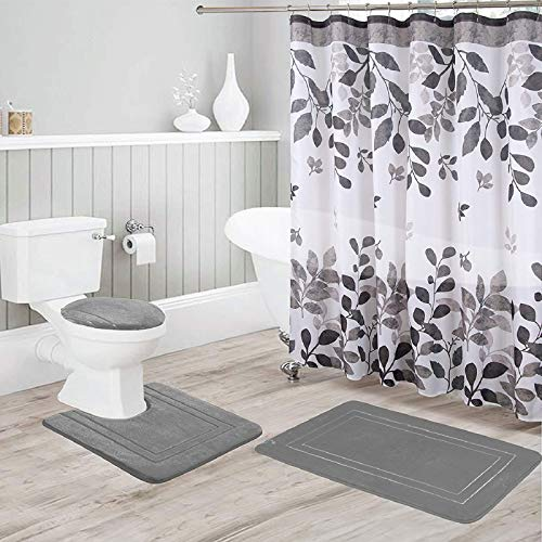 Better Home Style 16 Piece Solid Color Modern Design Embossed Memory Foam None-Slip Bathroom Rug Set Includes Bath Rug, Contour Mat, Lid Cover, Shower Curtain and 12 Roller Ball Hooks (Grey)