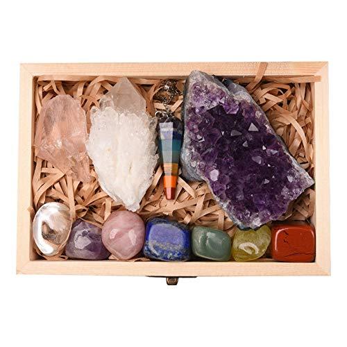 GJCrafts Juego de Piedras de Cristales de 11 Piezas, Crystals Healing Stones Seven Chakras Piedras Preciosas Péndulo de Cuarzo Ahumado Natural Amatista para Pulido lapidari