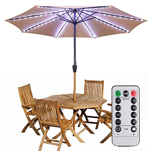Patio LED Umbrella String Lights Parasol String Lights 104 LEDs 8 Lighting Mode with Remote Control Umbrella Lights Battery Operated for 8ft-10ft Patio Umbrellas Outdoor Use Camping Tents(White)