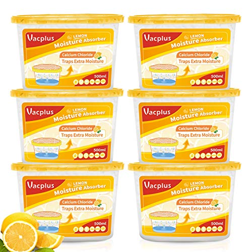 Vacplus Moisture Absorbers (6 pack), 10.5Oz Portable Humidity Absorber & Dehumidifier Boxes for Closet Effectively Trap Extra Moisture, Odor Eliminator with Lemon Fragrance for Fresher Air, VA-M164LE