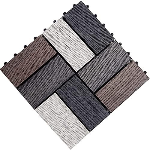 Baldosas de madera Terraza Baldosas Baldosas de madera entrelazadas, suelo de cubierta compuesta, adoquines de patio al aire libre resistentes al agua, empalmados para interiores y exteriores GCSQF210