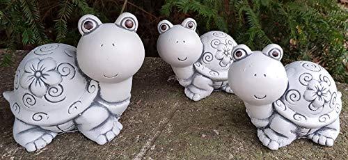 Niedliche Schildkröten-Familie 3-teilig Steinfiguren frostfest Handarbeit in Deutschland Gartendeko für außen Garten Balkon und Terassen HQ-Beton Manufaktur Gartendekoration Figuren
