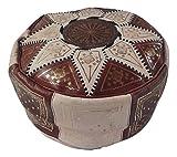 Puf marroquí puf Marruecos de Piel auténtica Oriental étnico Colcha reposapiés B5