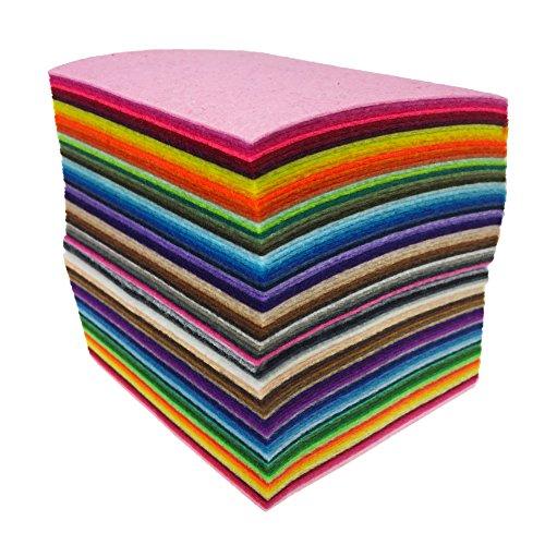 Fogli Feltro Colorato 88 pz Fogli in Feltro e Pannolenci Feltro Acrilico di Fogli DIY Tessuto in Feltro Acrilico Feltro da Cucire 10cm*10cm di 44 pz Diversi Colori