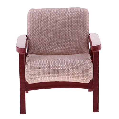 Fenteer Miniatur Single Sofa Ohrensessel Relaxsessel für 1/12 Puppenhaus Wohnzimmer Dekoration - Gelb