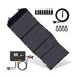 ECO-WORTHY 120W Panneau solaire pliable avec contrôleur de charge, chargeur solaire portable avec sortie CC...