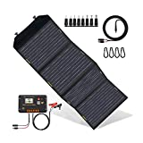 ECO-WORTHY 120 Watts Cargador de panel solar plegable con controlador de carga Salida de CC Cargador portátil al aire libre en maleta para autocaravana RV Senderismo Laptop Tablet iPhone