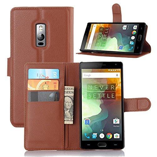 Ycloud Tasche für OnePlus Two Hülle, PU Ledertasche Flip Cover Wallet Hülle Handyhülle mit Stand Function Credit Card Slots Bookstyle Purse Design braun