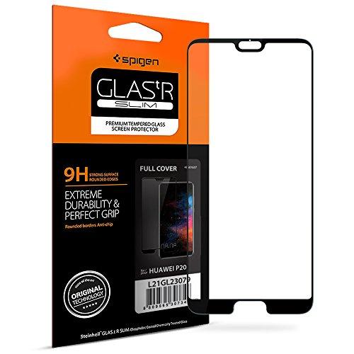 Spigen, Panzerglas kompatibel mit Huawei P20, Schwarz Volle Abdeckung, Easy Install Kit, 9H gehärtetes Glas, Antikratz, Glas 0.33mm, Huawei P20 Panzerglas (L21GL23079)