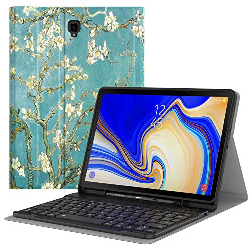 MoKo Keyboard Case for Samsung Galaxy Tab S4 10.5' Wireless Bluetooth Keyboard Cover with S Pen Holder for Galaxy Tab S4 10.5 Inch (SM-T830/SM-T835) 2018 Release Tablet - Almond Blossom