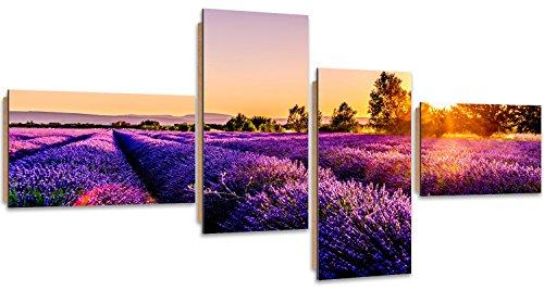 Feeby. Tableau Multi Panneaux - 4 Parties, Décoration Murale, Image imprimée, Deco Panel, Type Z, 200x100 cm, Prairie, Lavande, Nature, Violet