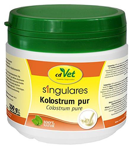 cdVet Naturprodukte Singulares Kolostrum pur 250 g - Hund, Katze, Pferd -  reich an Mineralien+Vitaminen+Spurenelementen+Aminosäuren - Stärkung des Immunsystems+Vitalität - appetitanregend -