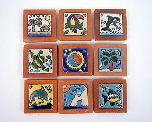 9 mediterrane Relief-Fliesen wie abgebildet. Terracotta - nicht frostfest, wunderschön mit leichten Mängeln.