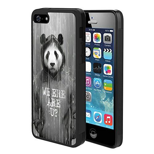 DragonCat Hoodie Panda iPhone 5/5S/SE Case Hard Shell Back Cover Tire Pattern Soft Edge TPU + PC Material Black Phone Case for iPhone 5/5S/SE Hoodie Panda