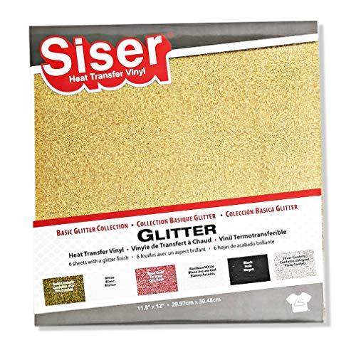 Siser Heat Transfer Vinilo Basic Glitter Collection 6 Unidades