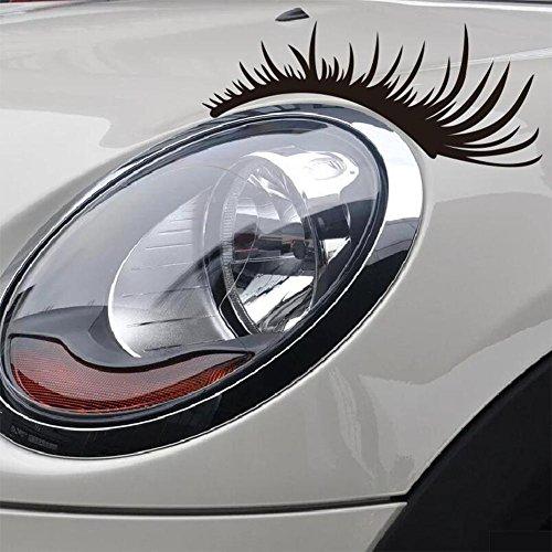 Househome,Angebote & Schnäppchen, 3D Auto Wimpern Vinly Aufkleber, große lange Auge für Scheinwerfer Dekoration Aufkleber (2-Pack - schwarz)