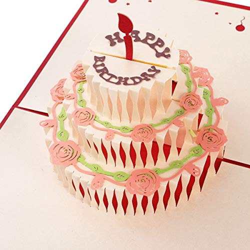 Geburtstagskarte 3D Pop up Grußkarte, BESLIME Glückwunschkarten geburtstag, handgefertigt Geschenkkarte 3 Schicht Kuchen Design