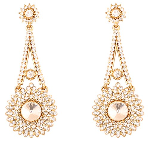 Touchstone Pendientes de joyería de diseñador de candelabro nupcial indio de bollywood rhines para mujer Tono dorado