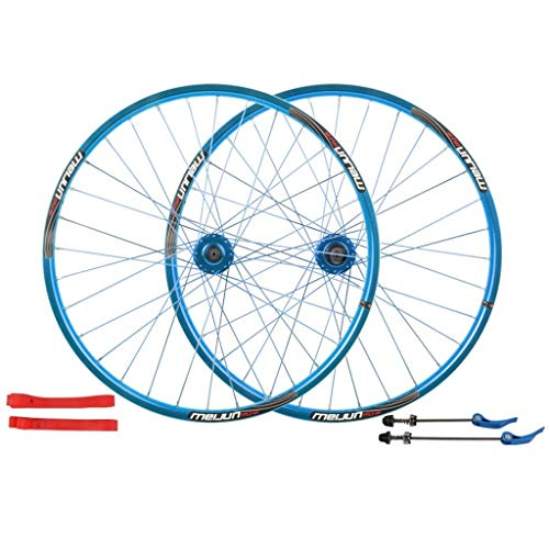 MTB Bike Wheelset 26 Inch, Double Wall Quick Release Hub Disc Brake Racing Road Cycling Wheels Rim 32 Hole 8 9 10 11 Speed (Color : Blue)