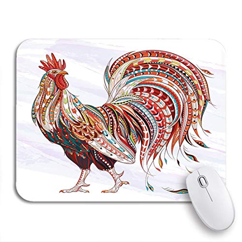 Gaming Mouse Pad Patterned Fiery Rooster Symbol of Chinese New Year African Nonslip Rubber Backing Computer Mousepad for Notebooks Mouse Mats
