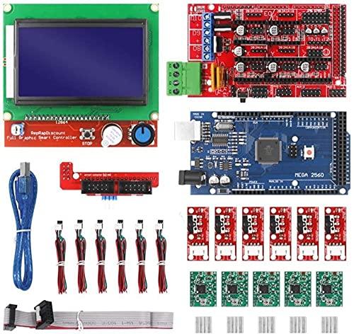Piezas de Impresora 3D aptas para el Kit de Impresora 3D CNC con Placa Mega 2560, Controlador RAMPS 1.4, LCD 12864, Controlador Paso a Paso A4988 para Arduino (Color: Rojo) (Color: Rojo) Durable