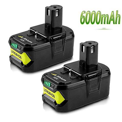 18V 6000mAh High Capacity Replacement Battery for Ryobi P108 P105 P102 P103 P107 P109 P104 P100 Lithium-ion Cordless Tools Battery (2 Packs)