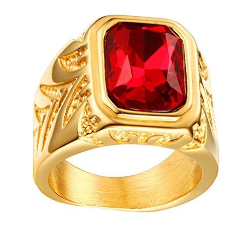 HIJONES Hombres Acero Inoxidable 15.5MM Rojo Diamante