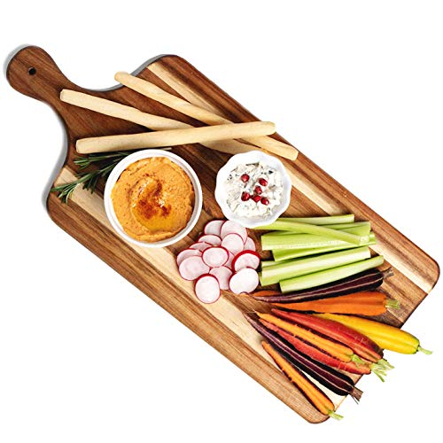 Villa Acacia Large Wooden Cheese Board and Charcuterie Board - 22 Inch Long with Handle