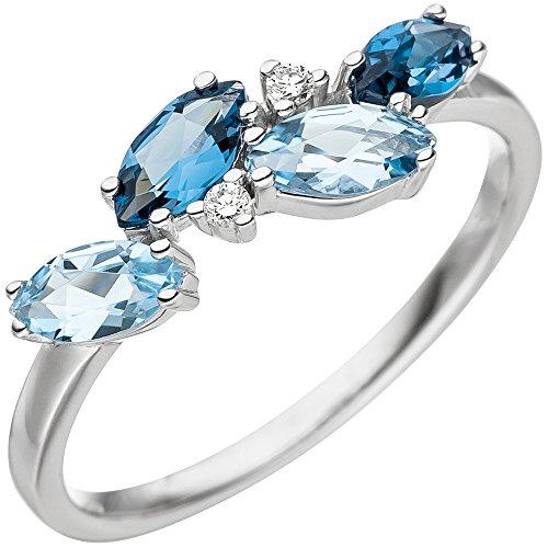 Damen-Ring Blautopase hellblau Ovalform & Diamanten Brillanten 585 Gold Weißgold, Ringgröße:Innenumfang 52mm ~ Ø16.6mm
