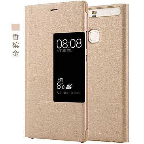 PU Funda Flip de Cuero para Huawei P9 Plus Estilo Original Ventana de la Cubierta del teléfono móvil Inteligente Flip Caso para Huawei P9 Plus (Golden,For Huawei P9 Plus)