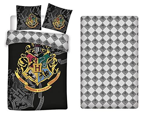 AYMAX S.P.R.L. Harry Potter Juego de ropa de cama, funda nórdica de 140 x 200 cm + funda de almohada de 63 x 63 cm + sábana bajera de 90 x 190 cm