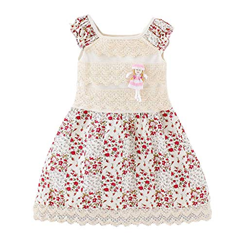 qinhanjia Dresses Spring Summer Baby Clothes Ruffles Flowers Lace Sleeveless Shirt for Girls with Brooch Dresses Girl Casual Flower Print Dresses