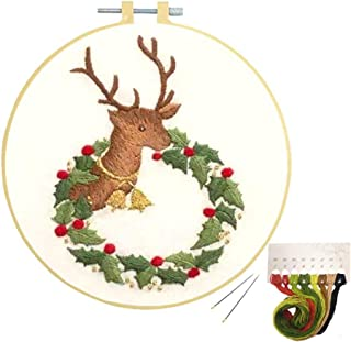 Louise Maelys Embroidery Starter Kit Christmas Cross Stitch with Pattern Stamped Embroidery Set for Beginner