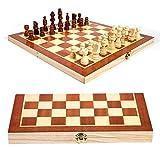 THQC Juegos de Viaje Plegable de Madera Internacional de Ajedrez Juego de Piezas Set Juego de Mesa Divertido Juego de ajedrez Colección de Mesa portátil