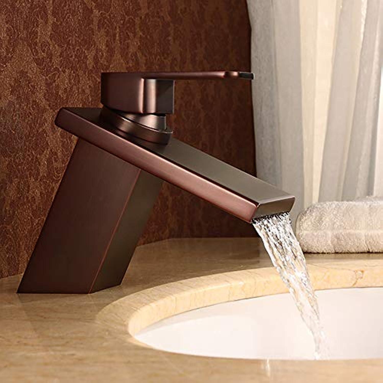 BILLY'S HOME Wasserfall Waschbecken Wasserhhne, Wasserfall Auslauf l eingerieben Bronze einzigen Griff EIN Loch Waschbecken Wasserhahn kommerziellen