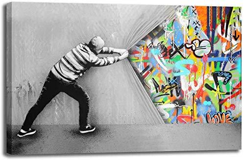 Banksy Graffiti Toile Art Décor Behind the Curtain Graffiti Art Tableau Street Art Impression sur Toile Tableau Décoration murale salon moderne Avec Cadre (30x50cm(11.8x19.7inch))