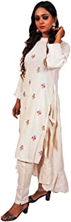 VOGUE TREASURES Presnest Solid Color Anarkali Kurti with Palazzo Cream