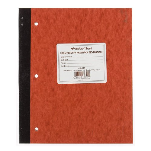 NATIONAL Laboratory Notebook, 4 X 4 Quad, Brown, Cover, 11 x 9.25