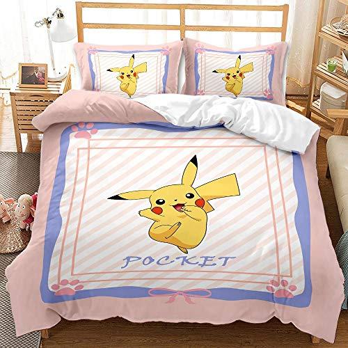 Proxiceen Pokemon - Juego de funda de edredón para cama individual y doble, diseño de Pikachu de 3 piezas