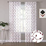 Tollpiz Leaves Sheer Curtains Burgundy Red Leaf Embroidery Living Room Curtain Rod Pocket Voile Faux Linen Embroidered Leaves Curtains for Bedroom, 54 x 72 inches Long, Set of 2 Panels