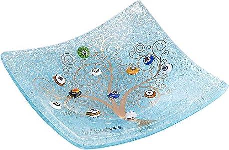 Sospiri Venezia - Bandeja de cristal de Murano, árbol de la vida, 15 x 15 cm, técnica de vitrofusión, murrina de Murano y lámina dorada, hecho a mano por artesanos venecianos