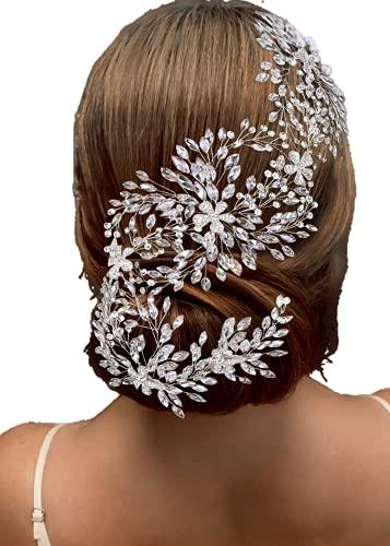 TOPQUEEN Braut Haarreifen, Perle Brautschmuck Haarband, Hochzeit Stirnbänder, Haarschmuck Tiara für Frauen und Mädchen (Gold-Organza-Elfenbein)