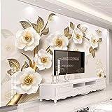 Hhkkckカスタム写真の壁紙現代の3Dエンボス加工黄色い花の壁画リビングルームテレビソファ背景壁絵画-160X120Cm